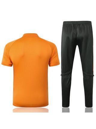 Мужской тренировочный костюм оранжевый ФК Манчестер Юнайтед с поло