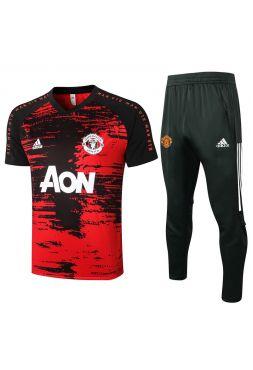 Мужской тренировочный костюм черно-красный ФК Манчестер Юнайтед