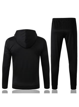 Спортивный костюм черный с серыми полосами Манчестер Юнайтед с капюшоном