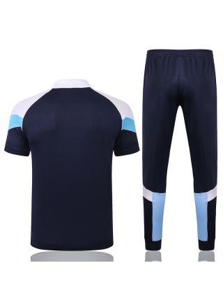 Мужской тренировочный костюм сине-белый ФК Марсель с поло