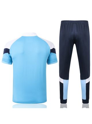 Мужской тренировочный костюм голубо-синий ФК Марсель с поло