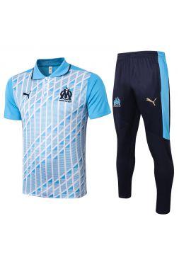 Мужской тренировочный костюм голубо-синий с белым принтом ФК Марсель с поло