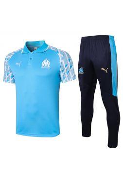 Мужской тренировочный костюм сине-голубой ФК Марсель с поло