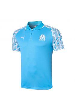 Мужское спортивное поло голубое с белыми рукавами ФК Марсель