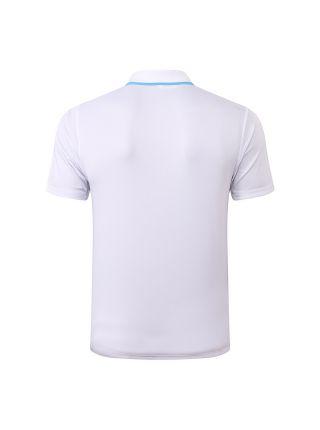 Мужское спортивное поло бело-голубое с узором ФК Марсель