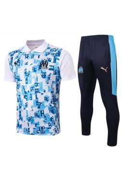 Мужской тренировочный костюм бело-синий с голубым принтом ФК Марсель с поло