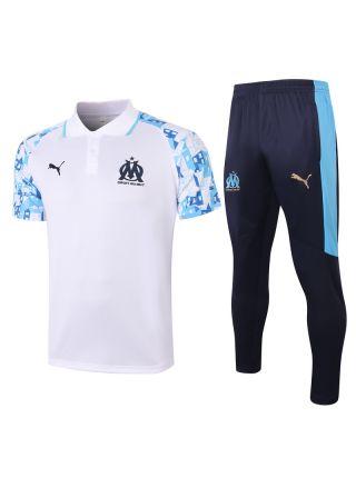 Мужской тренировочный костюм бело-синий   ФК Марсель с поло
