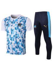 Мужской тренировочный костюм бело-синий с голубым принтом ФК Марсель