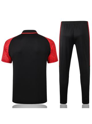 Мужской тренировочный костюм черно-красный ФК Милан с поло