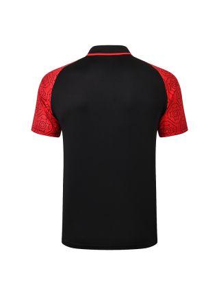 Мужское спортивное поло черное с красными рукавами ФК Милан