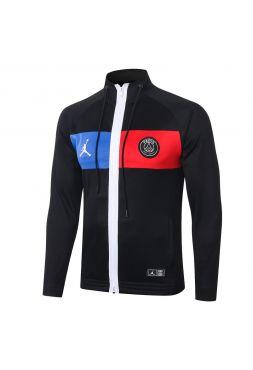 Мужская спортивная олимпийка черная с сине-красной полосой ФК ПСЖ