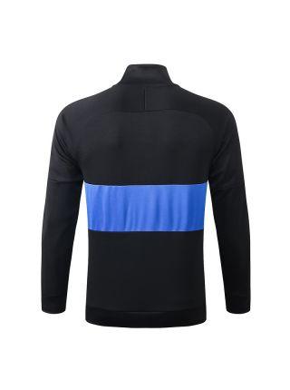 Мужская спортивная олимпийка черная с синей полосой ФК ПСЖ