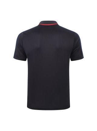 Мужское спортивное поло черное с черным орнаментом ФК ПСЖ