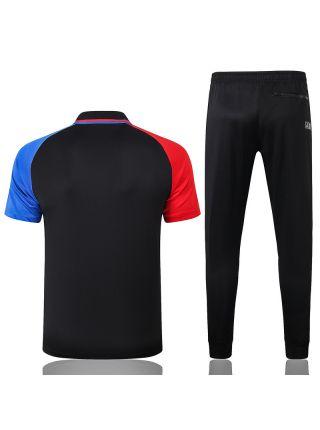 Мужской тренировочный костюм черный с сине-красными рукавами ФК ПСЖ с поло