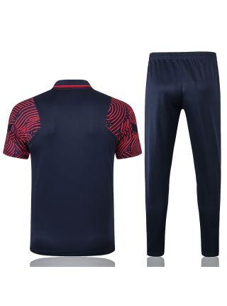 Мужской тренировочный костюм синий с красными рукавами ФК ПСЖ с поло