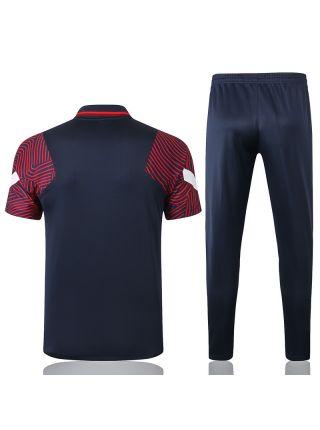 Мужской тренировочный костюм темно-синий с красными рукавами ФК ПСЖ с поло