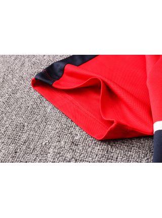 Мужской тренировочный костюм красный с черной полосой ФК ПСЖ с поло
