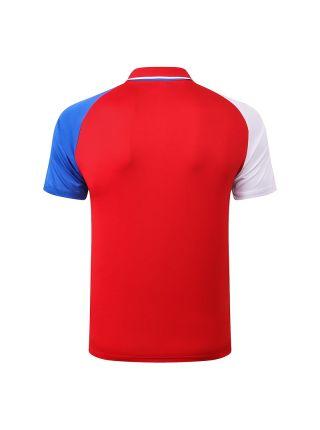 Мужское спортивное поло красное с бело-синими рукавами ФК ПСЖ