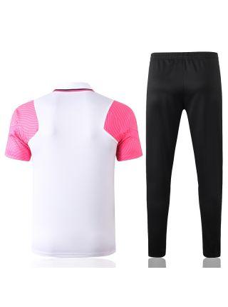 Мужской тренировочный костюм бело-черный с розовыми вставками ФК ПСЖ с поло