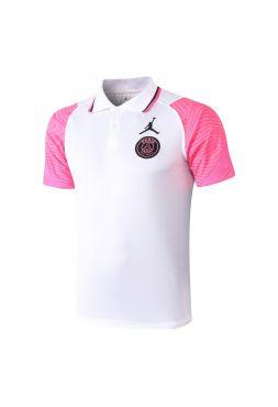 Мужское спортивное поло белое с розовыми рукавами ФК ПСЖ