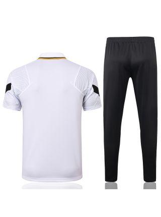 Мужской тренировочный костюм черно-белый с разноцветными вставками ФК ПСЖ с поло
