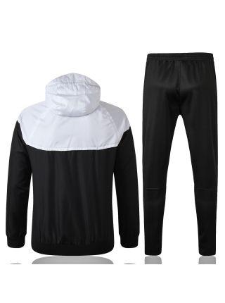 Спортивный костюм черно-бело-серый ПСЖ с капюшоном