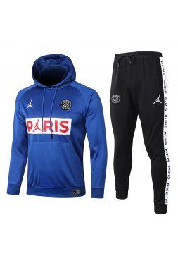 Спортивный костюм сине-бело-черный ПСЖ с капюшоном