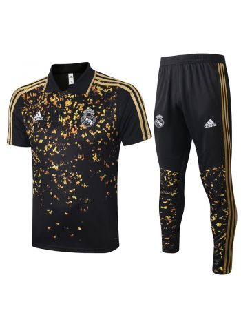 Мужской тренировочный костюм черно-золотой ФК Реал Мадрид с поло