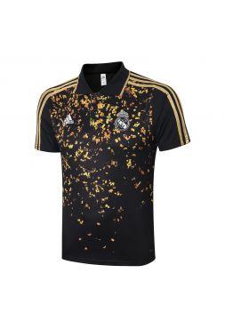 Мужское спортивное поло черно-золотое ФК Реал Мадрид