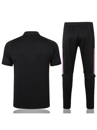 Мужской тренировочный костюм черно-розовый ФК Реал Мадрид с поло