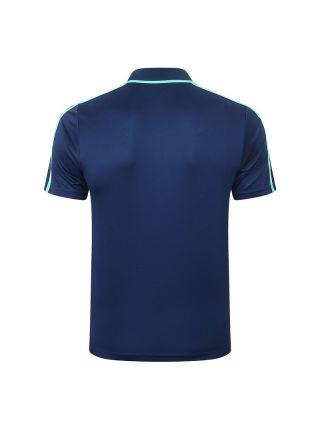 Мужское спортивное поло синее с мятной полосой ФК Реал Мадрид