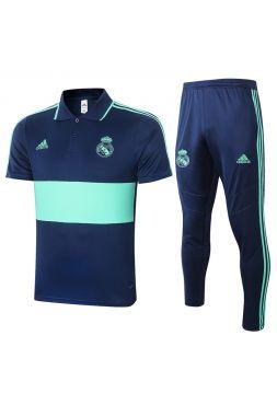 Мужской тренировочный костюм сине-мятный ФК Реал Мадрид с поло