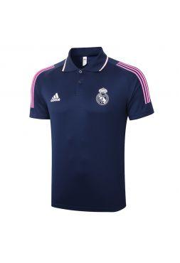 Мужское спортивное поло сине-розовое ФК Реал Мадрид
