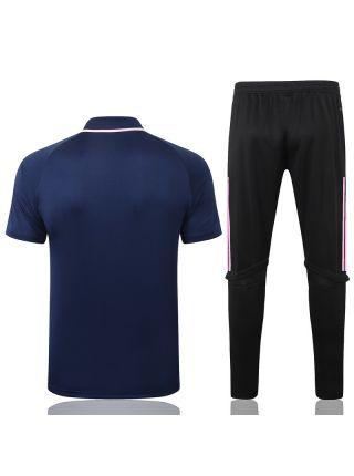 Мужской тренировочный костюм сине-розовый ФК Реал Мадрид с поло