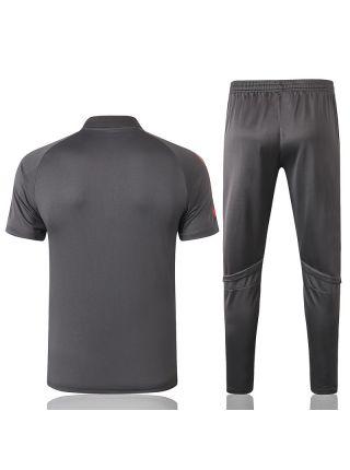 Мужской тренировочный костюм серый ФК Реал Мадрид с поло
