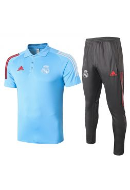Мужской тренировочный костюм голубо-серый ФК Реал Мадрид с поло