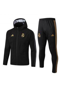 Спортивный костюм черно-золотой Реал Мадрид с капюшоном