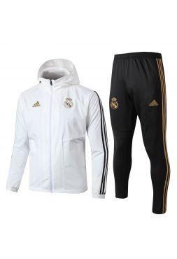 Спортивный костюм бело-черный с золотом Реал Мадрид с капюшоном