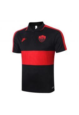 Мужское спортивное поло черное с красной полосой ФК Рома