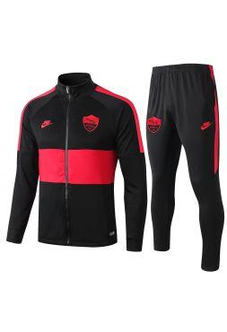 Спортивный костюм черный с красными полосами Рома с молнией