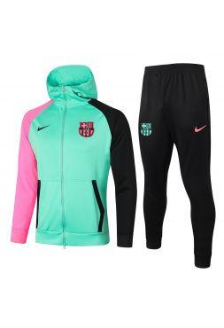 Спортивный костюм зелено-розово-черный Барселона с капюшоном