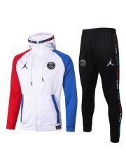 Спортивный костюм бело-красно-синий ПСЖ с капюшоном