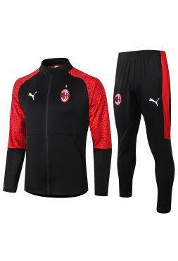 Спортивный костюм черный с красными рукавами Милан с молнией