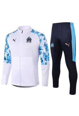 Спортивный костюм бело-черный Олимпик Марсель с молнией