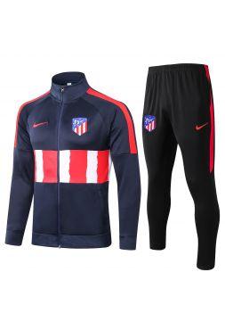 Спортивный костюм сине-красный с белыми полосами Атлетико Мадрид с молнией