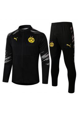 Спортивный костюм черно-серый Боруссии Дортмунд с молнией
