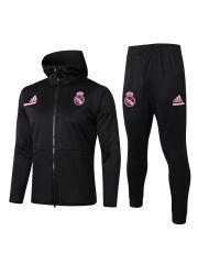 Спортивный костюм черно-розовый Реал Мадрид с капюшоном