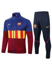 Спортивный костюм сине-красный с желтыми полосами Барселона с молнией