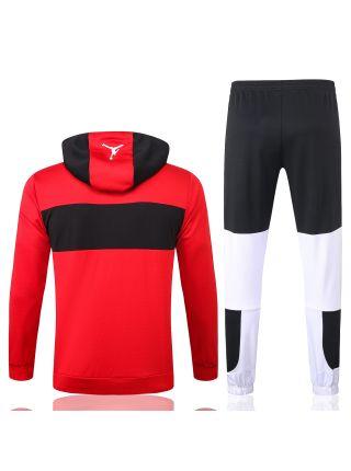 Спортивный костюм красно-бело-черный ПСЖ с капюшоном