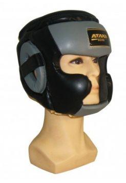 Шлем АТАКА BOXING с защитой верха и щек Black/Grey